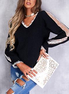 Cuello en V Casual Impresión Suéteres