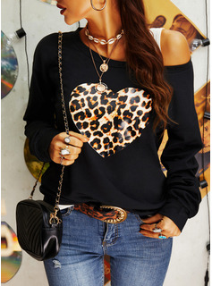 Leopard One Shoulder Long Sleeves Casual Blouses
