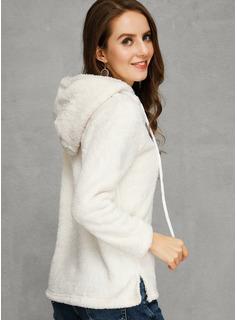 Sólido Capucha Suéter Suéteres