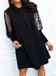 Solid Shift Long Sleeves Mini Little Black Party Elegant Dresses