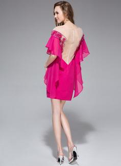 Forme Fourreau Hors-la-épaule Court/Mini Mousseline Robe de vacances avec Brodé Fleur(s) Robe à volants