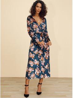 Midi Escote en V poliéster Impresión Mangas Largas Vestidos de moda