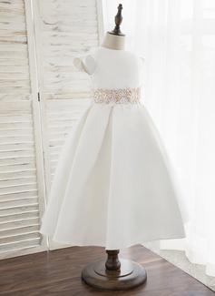 A-Line Tea-length Flower Girl Dress - Satin Short Sleeves Scoop Neck
