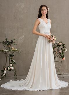 A-Line V-neck Court Train Chiffon Wedding Dress With Beading Sequins
