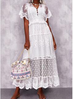 Solid Kjole med A-linje Korte ærmer Maxi Casual Ferie skater Mode kjoler