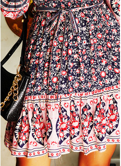 Floral Impresión Vestido línea A Manga Larga Mini Boho Casual Vacaciones Patinador Vestidos de moda