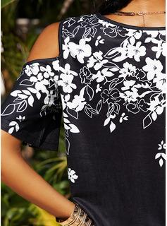 Floral Print Cold Shoulder 1/2 Sleeves Casual