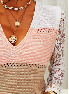 V-Neck Casual Lace Color Block Sweaters
