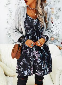 Floral Lace Print Shift Long Sleeves Midi Casual Elegant Tunic Dresses