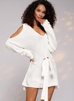 Kabel Dzianina Masywna dzianina Jednolity Poliester Dekolt w kształcie litery V Pulower Swetry Suknie Swetry