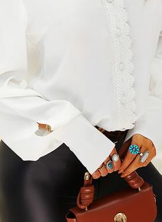 Lace Solid V-Neck Lantern Sleeve Long Sleeves Elegant Blouses