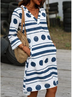 水玉模様 縞模様の シフトドレス 3/4袖 ミディ カジュアル チュニック ファッションドレス