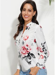 Blomstrete Trykk V-hals Lange ermer Button up Avslappet Skjorte Bluser