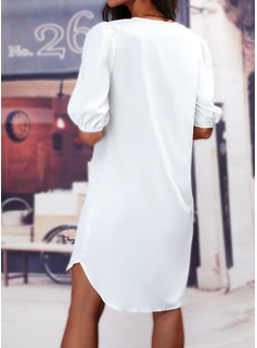 Sólido Vestidos sueltos Mangas 1/2 Mini Casual Túnica Vestidos de moda