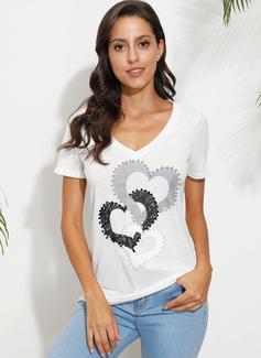 Print Korte ærmer Bomuld Polyester V-hals T-shirt Bluser