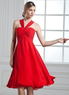 Empire V-neck Knee-Length Chiffon Cocktail Dress With Ruffle Bow(s)