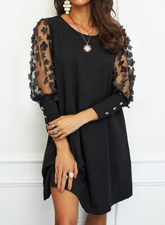Floral Sólido Vestidos sueltos Mangas 3/4 Mini Pequeños Negros Elegante Vestidos de moda