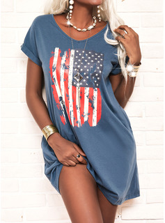 Impresión Vestidos sueltos Manga Corta Midi Casual camiseta Vestidos de moda