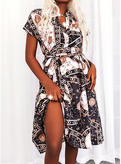 Leopard Print Kjole med A-linje Korte ærmer Midi Casual Ferie skater Mode kjoler