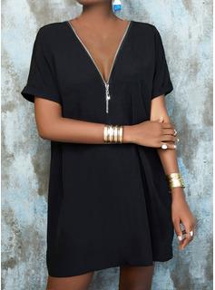 Sólido Vestidos sueltos Mangas 1/2 Midi Pequeños Negros Casual Túnica Vestidos de moda