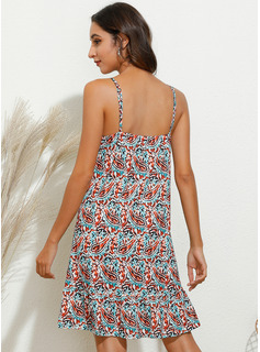 Print Shift Sleeveless Mini Casual Vacation Type Dresses