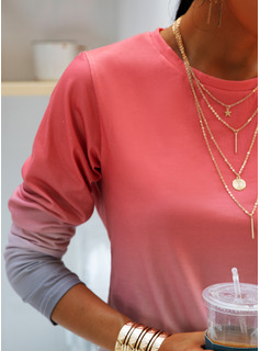 Tie Dye Round Neck Long Sleeves Casual T-shirt