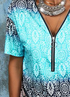 Impresión Cuello en V Manga Corta Casual Blusas