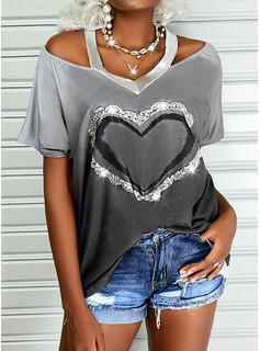 Impresión Degradada Corazón Top Con Hombros Manga Corta Casual Blusas