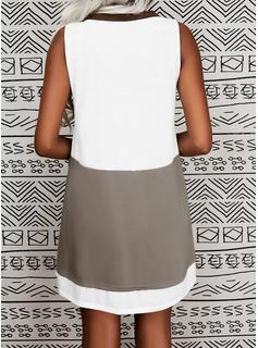 Trozos de color Vestidos sueltos Sin mangas Midi Casual Franelilla Vestidos de moda