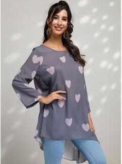 Wydrukować Długie rękawy Mieszanki bawełniane Okrągły Dekolt Nie obejmuje zawartości ubrań. Bluzki