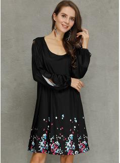Over Knee rund hals Polyester Print Lange ærmer/Split ærmer Mode kjoler