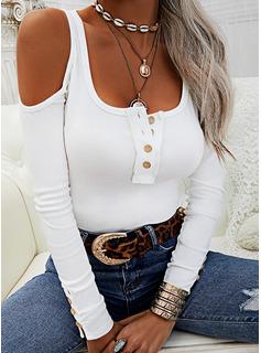 Solido Spalle esposte Maniche lunghe Bottone Casuale Camicie