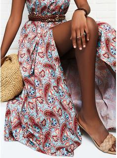 Impresión Vestido línea A Sin mangas Maxi Vacaciones Patinador Tipo Vestidos de moda
