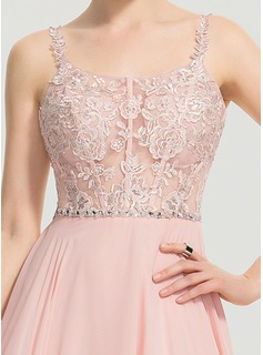 A-Line Square Neckline Floor-Length Chiffon Prom Dresses With Beading Sequins Split Front