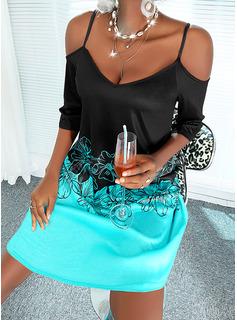 カラーブロック フローラル 印刷 シフトドレス 3/4袖 ミニ カジュアル 休暇 チュニック ファッションドレス