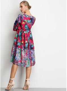 Floreale Abiti dritti 1/2 maniche Midi Casuale Elegante Vestiti di moda