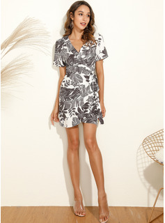 Blomster Print Skiftekjoler Korte ærmer Mini Casual Ferie Mode kjoler