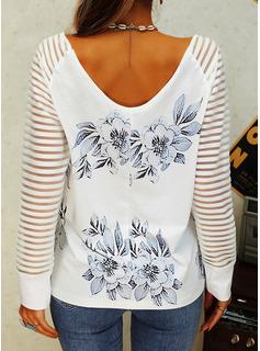 Blomster Print V-hals Lange ærmer Casual Skjorter