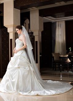 2 couches Voiles de mariée chappelle avec Bord en ruban