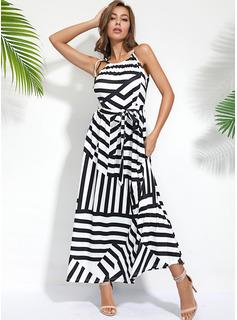 Rand A-linjeklänning Ärmlös Midi Fritids Typ Modeklänningar