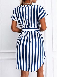 Striped A-line Short Sleeves Mini Casual Shirt Skater Dresses