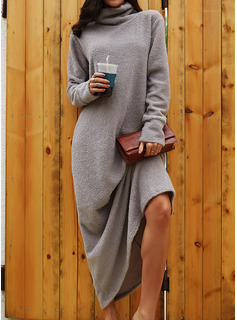 Solid Shift Long Sleeves Maxi Casual Dresses