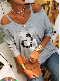 Print Heart Cold Shoulder Long Sleeves Casual Blouses