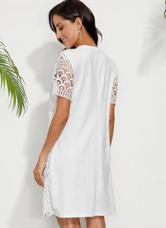 Over Knee rund hals Polyester Blonder/Solid Korte ærmer Mode kjoler