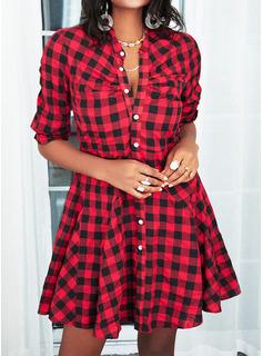 Plaid Kjole med A-linje Lange ærmer Mini Casual Skjorte skater Mode kjoler