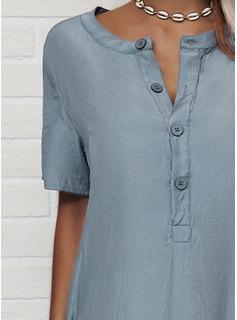 Solid Skiftekjoler Korte ærmer Midi Casual T-shirt Mode kjoler
