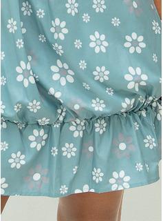 Print Floral Sleeveless Polyester Spaghetti Straps Tank Tops Blouses