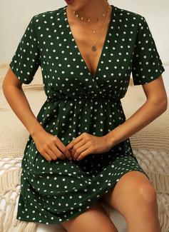 Cu Bulină Imprimeu Bir Çizgi Mâneci Scurte Mini gündelik Moda Elbiseler