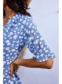 Impresión Vestido línea A Mangas 1/2 Midi Casual Patinador Vestidos de moda
