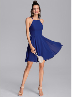 A-Line Scoop Neck Short/Mini Chiffon Homecoming Dress